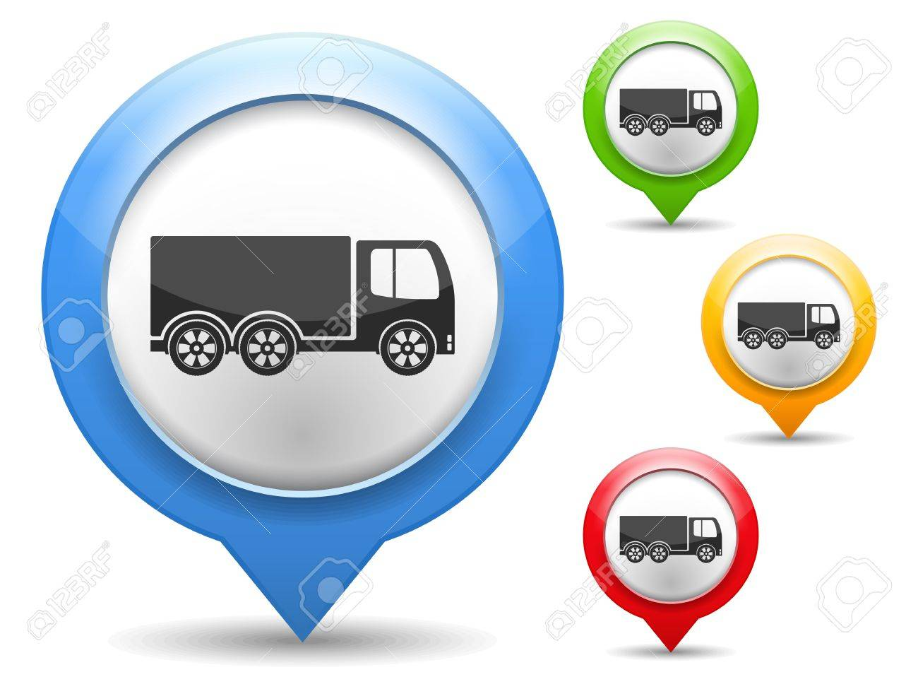Map marker with icon of a truck Stock Vector - 18916340