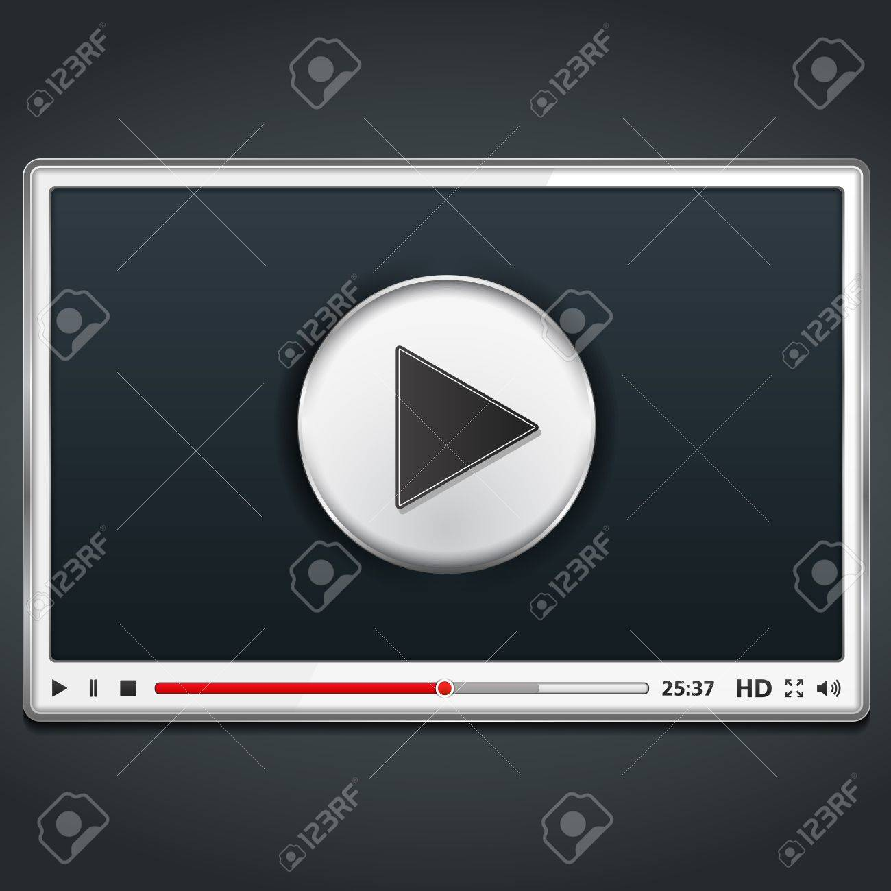 White Video Player Template Royalty Free Cliparts, Vectors, And ...