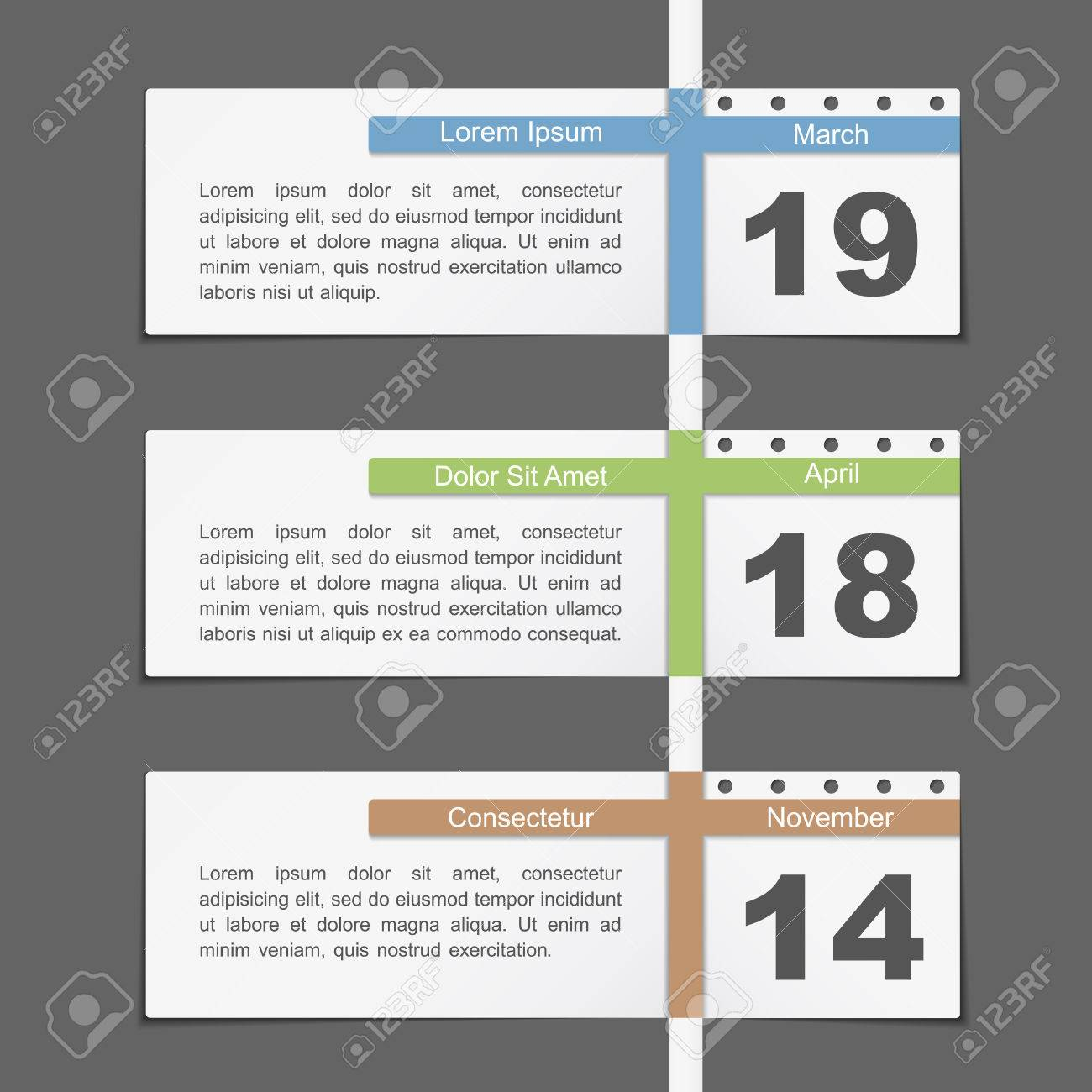 Timeline Design Template With Calendar Dates Royalty Free Cliparts ...