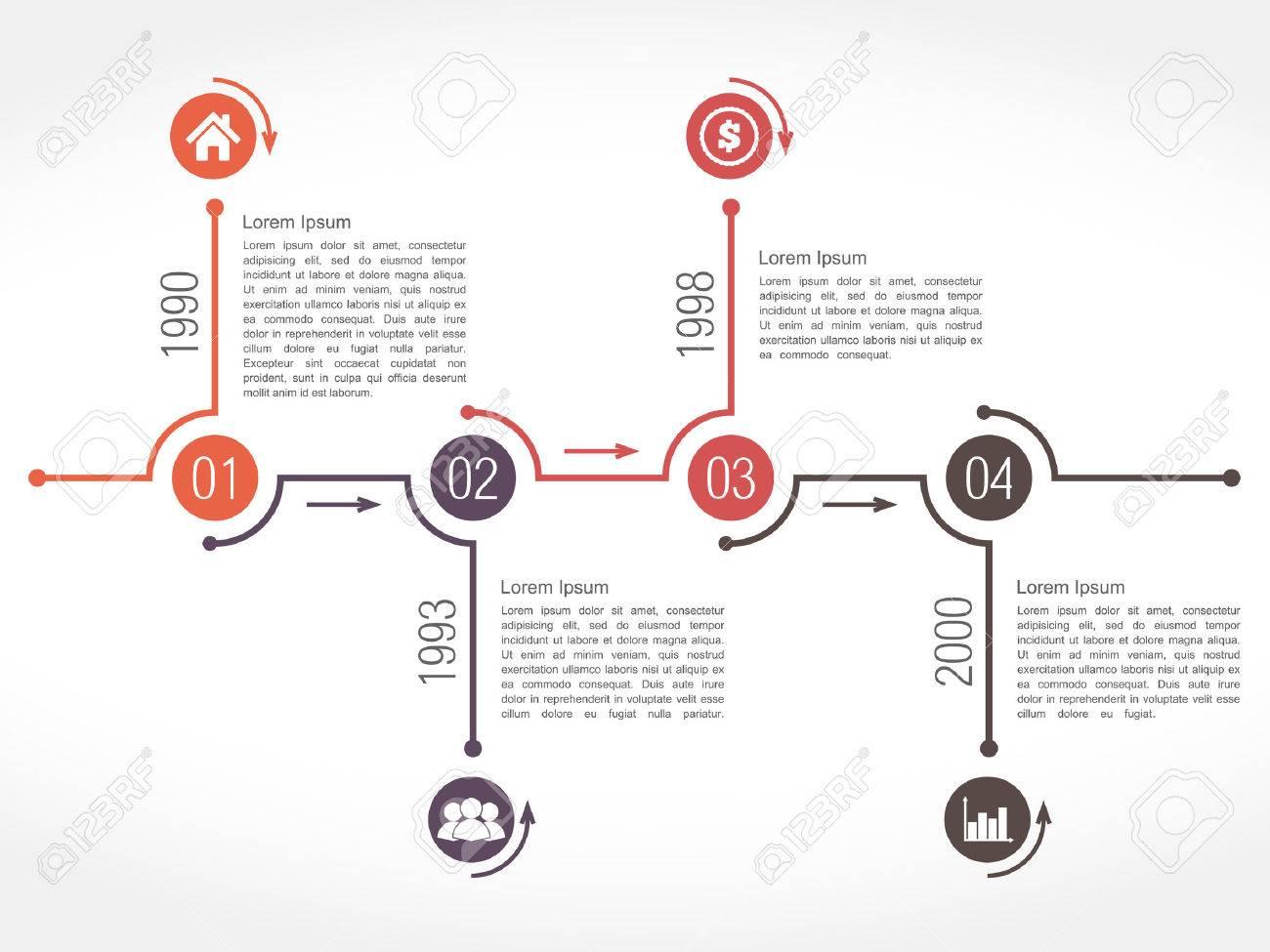Horizontal Timeline Design Template Royalty Free Cliparts Vectors - Timeline design template