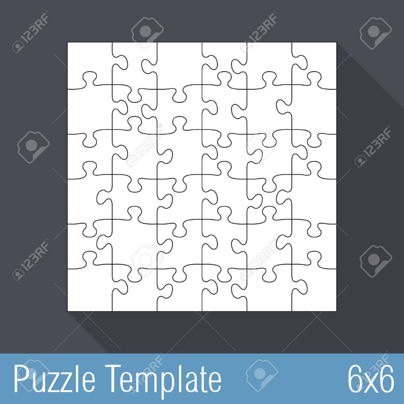 Jigsaw puzzle template 36 pieces 6x6 royalty free cliparts jigsaw puzzle template 36 pieces 6x6 stock vector 28031081 pronofoot35fo Choice Image