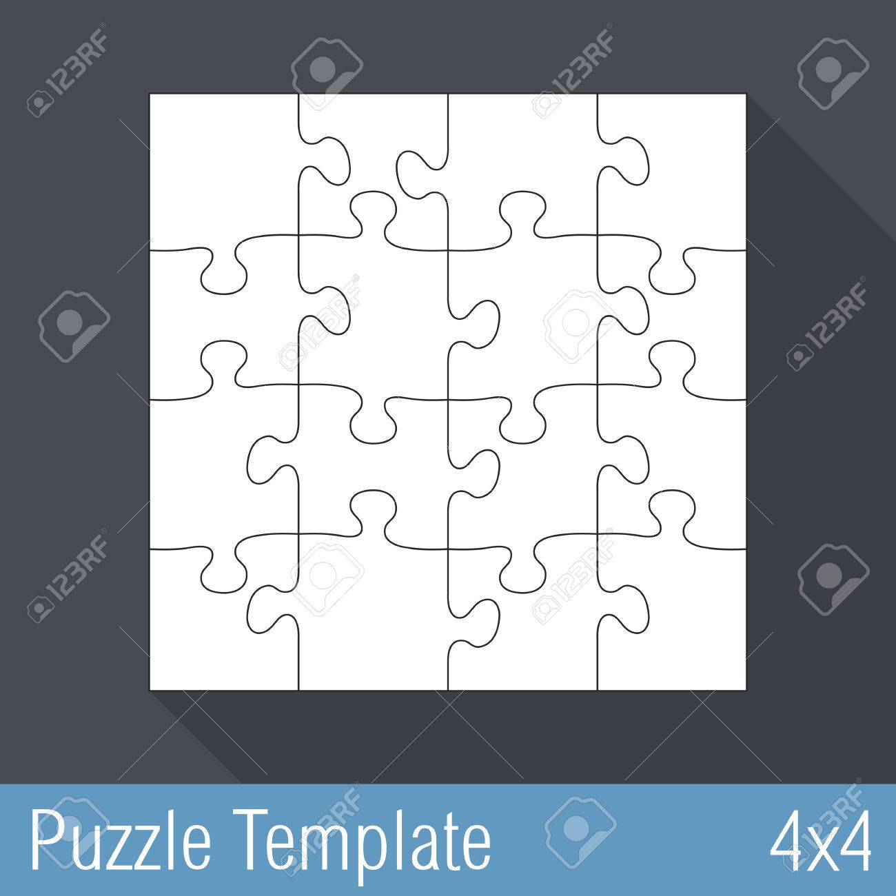 Jigsaw Puzzle Template 16 Pieces 4x4 Stock Vector