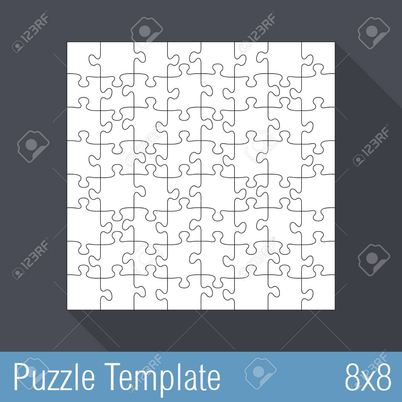 Square Jigsaw Puzzle Template 8x8 Pieces Royalty Free Cliparts ...