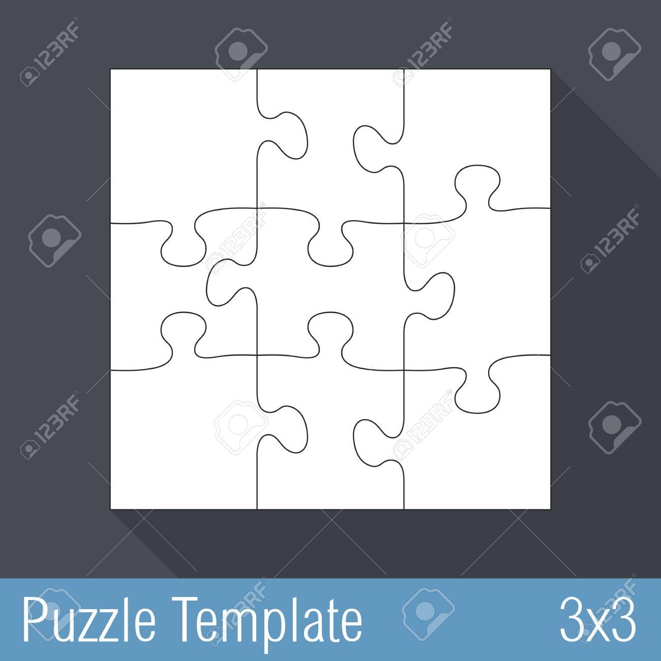 Carres Puzzle Pieces Modele De 3x3 Clip Art Libres De Droits