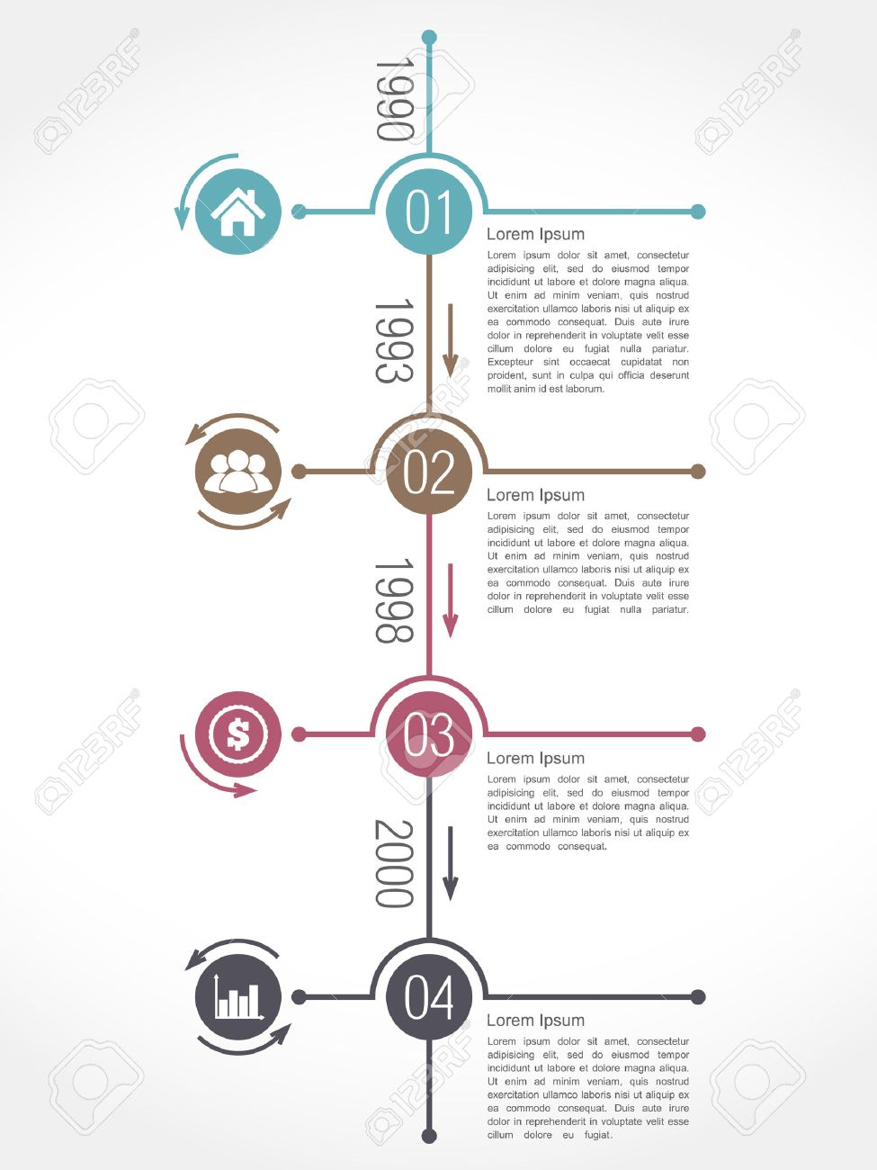Vertical Timeline Infographics Design Template Royalty Free ...