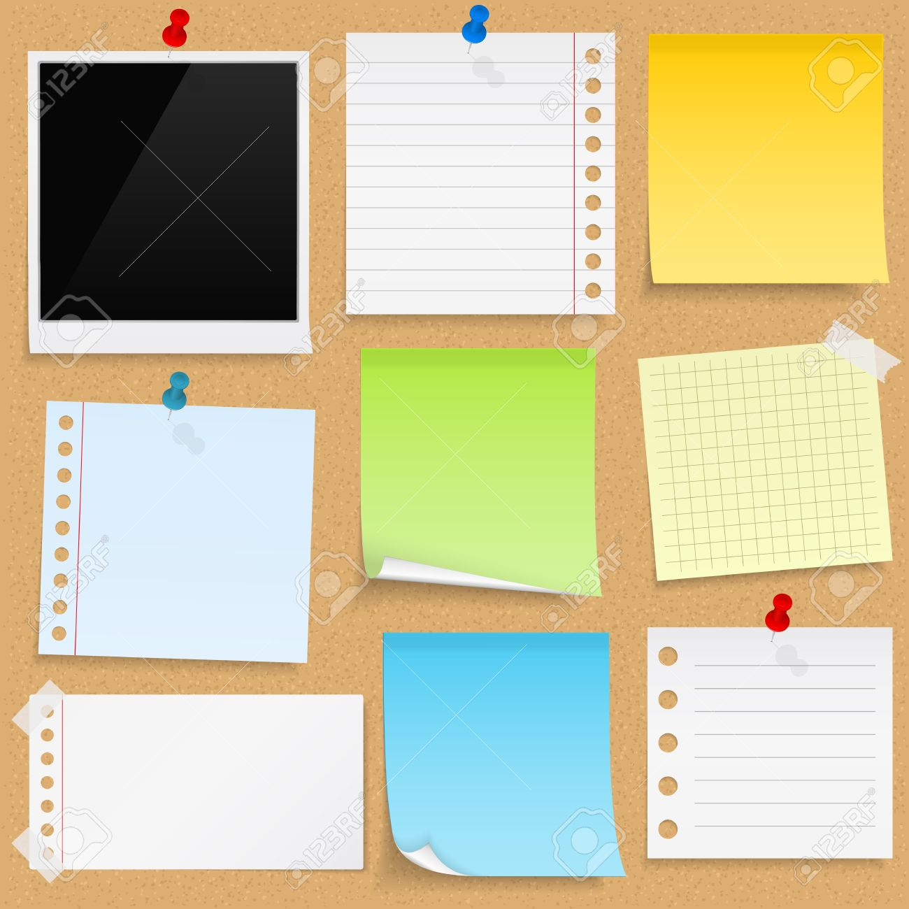 Paper notes, sticky papers an photo frames on bulletin board - 35073474