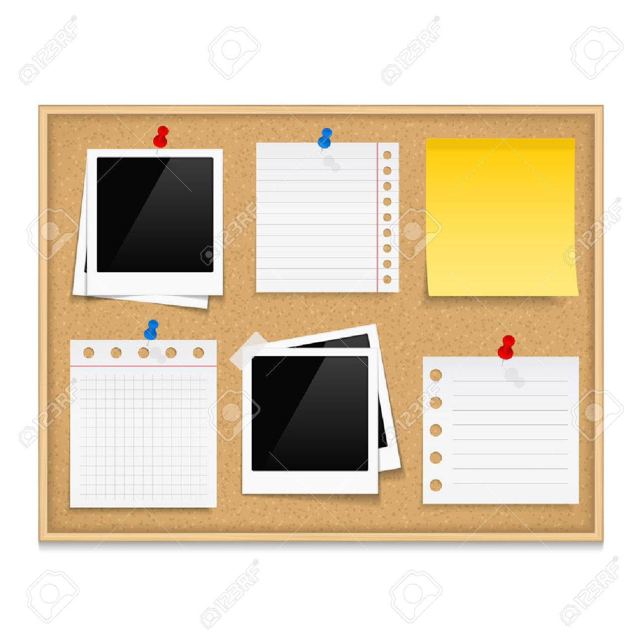 Bulletin board with photos and paper notes - 35599892