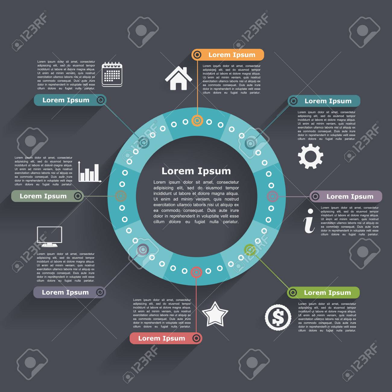 Circle infographics design template - 36122679