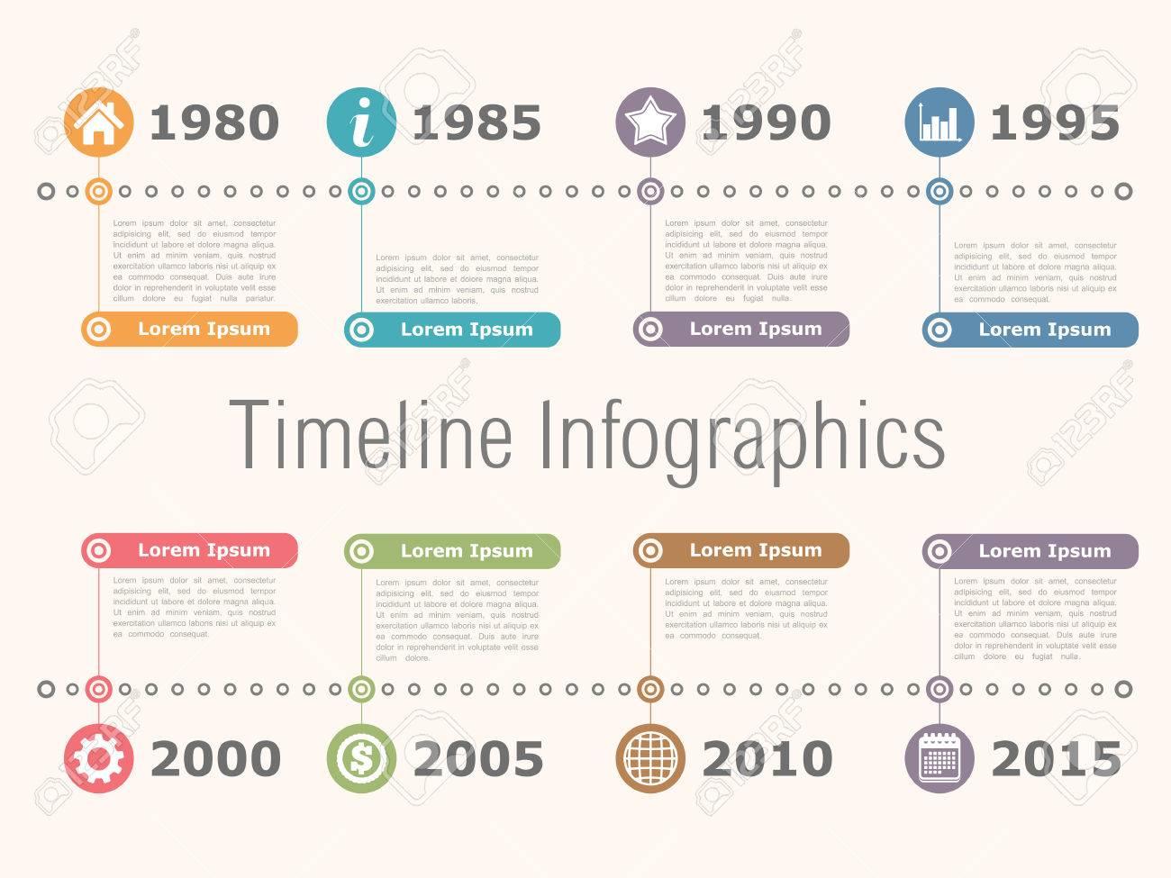 Horizontal timeline infographics design template - 36855603