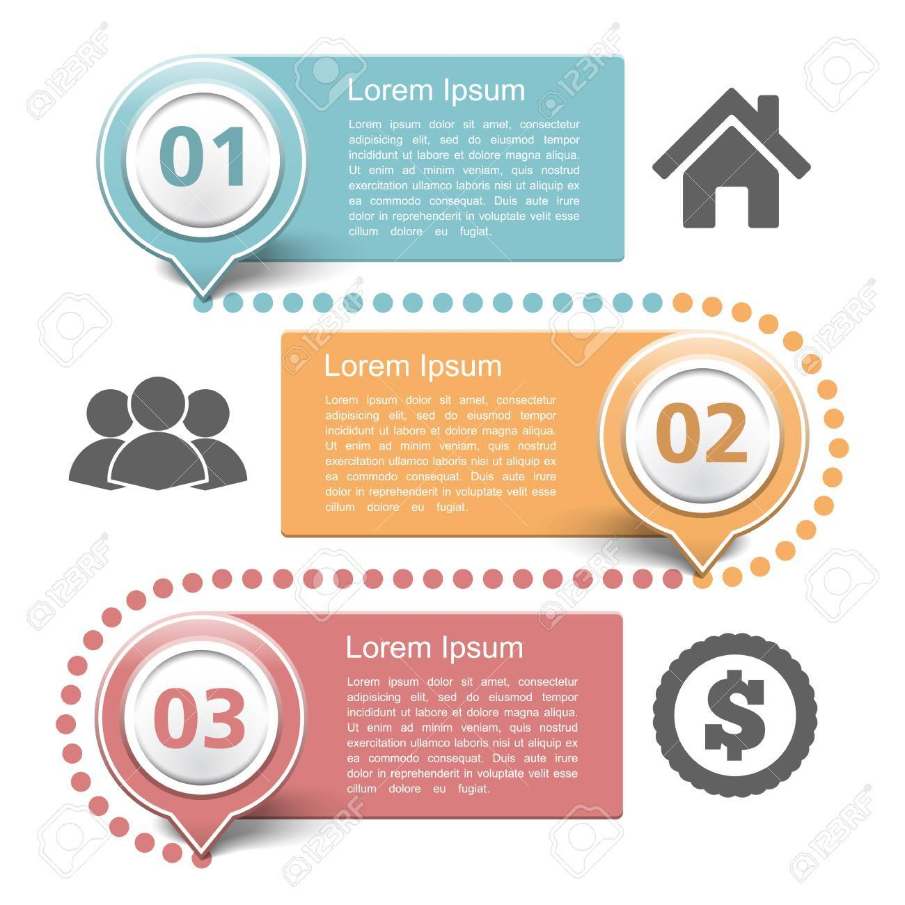 Design template with three steps - 37574690