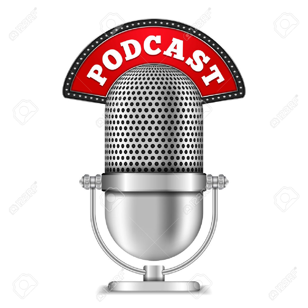 Microphone with Podcast Banner - 38331463