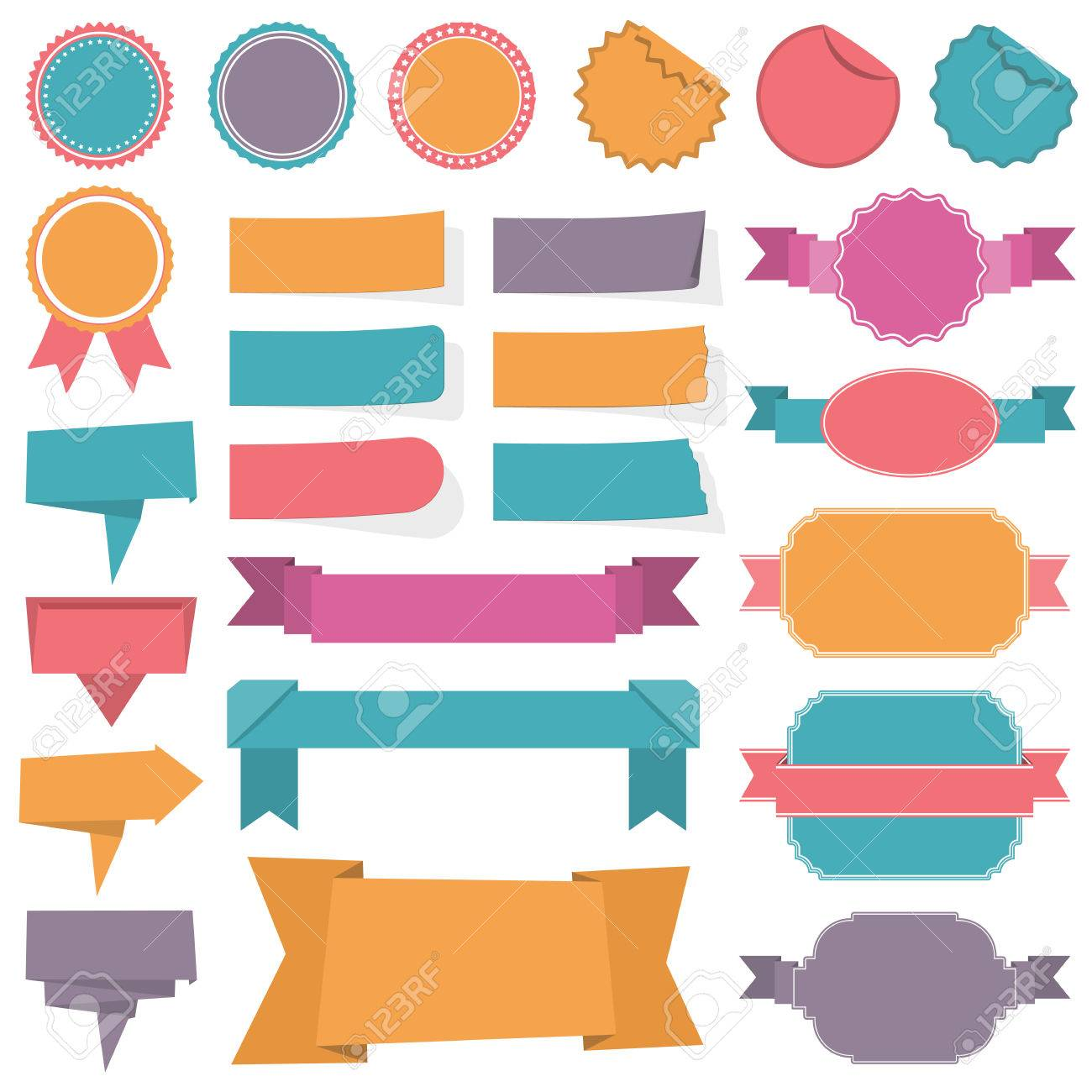 Collection of different labels, banners and ribbons - 38963147
