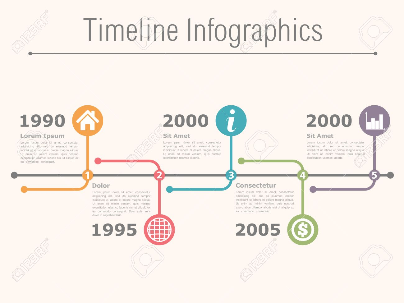 Horizontal Timeline Infographics Template Royalty Free Cliparts ...