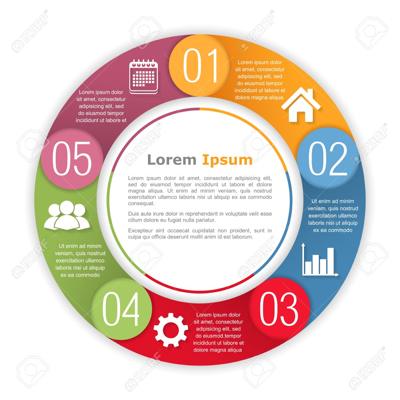 Circle infographics with five elements - 39307863