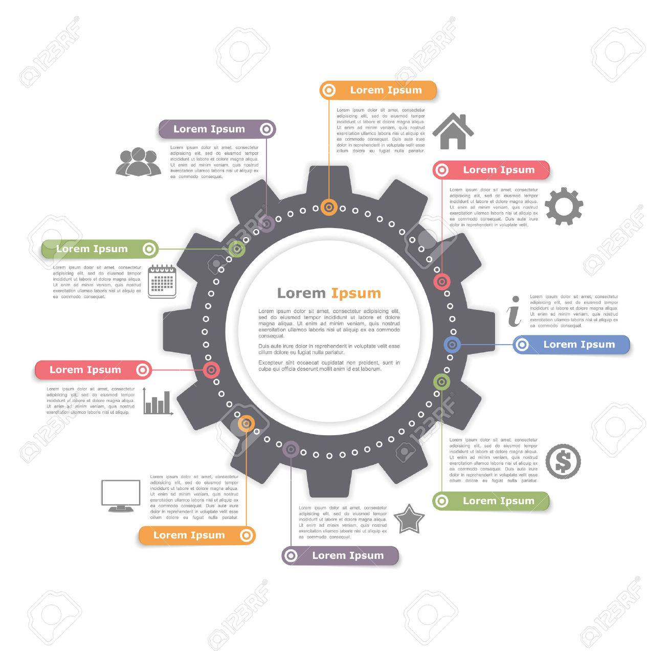 39577525 circle infographics with gear process diagram template circle infographics with gear, process diagram template royalty free