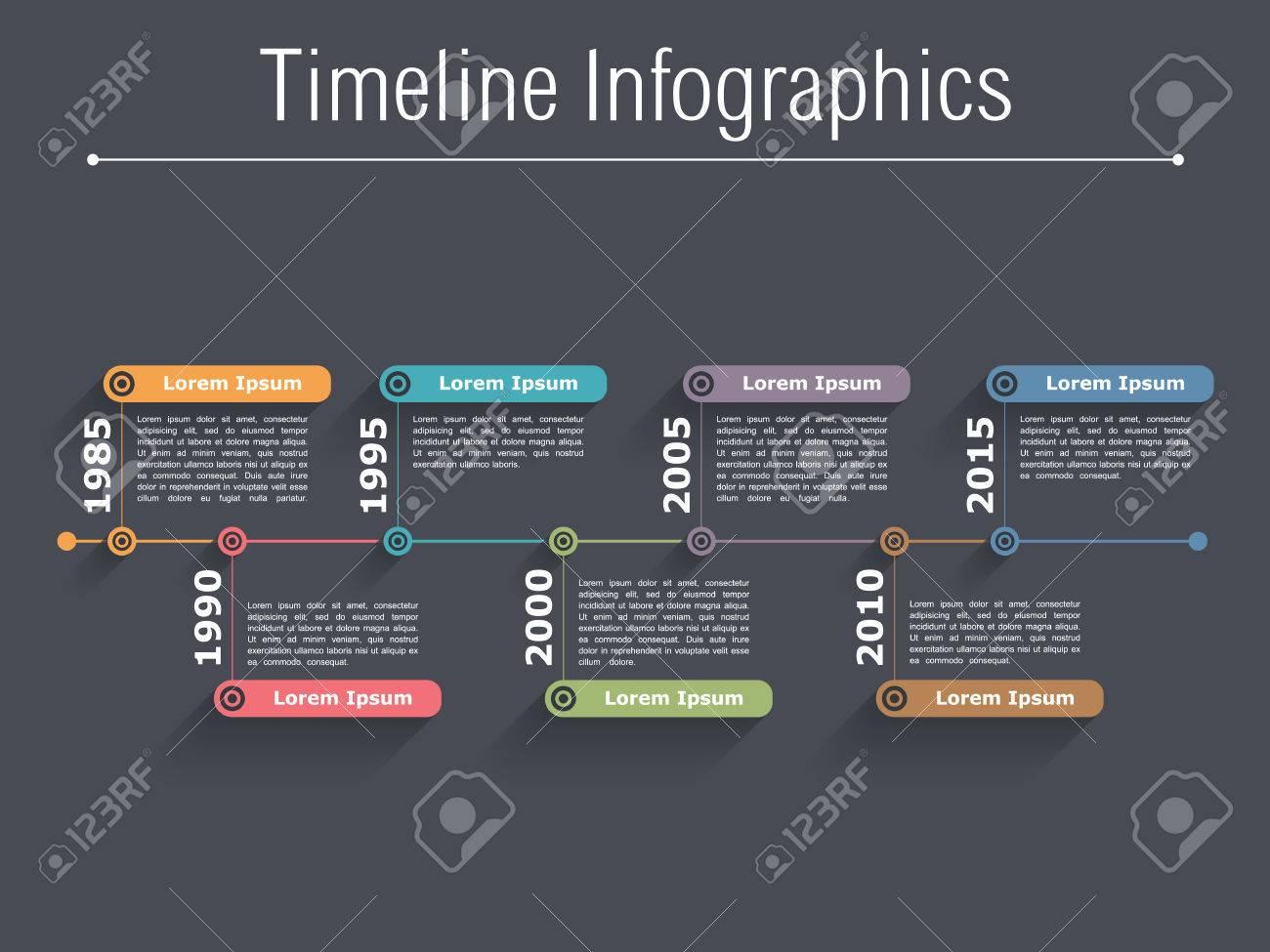 Timeline infographics design template dark background - 39707004