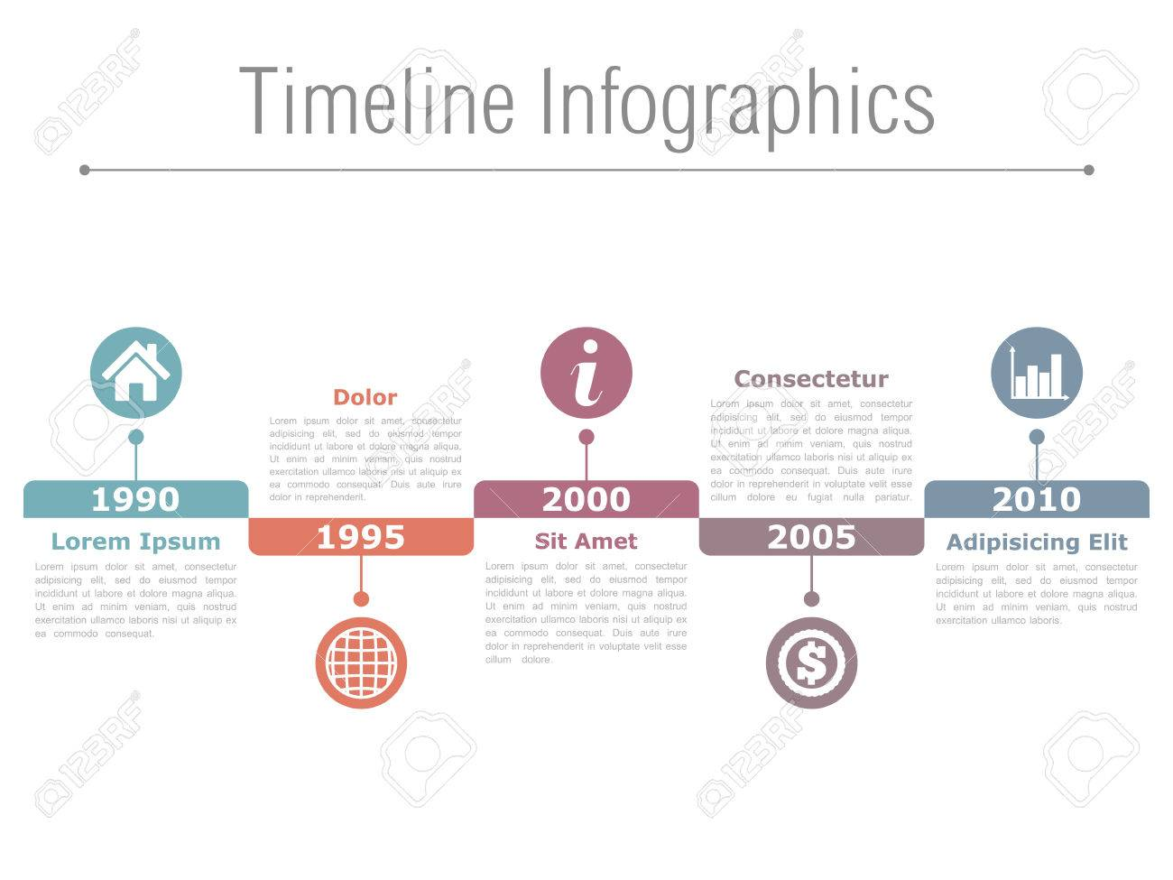 Horizontal Timeline Infographics Design Template Royalty Free ...