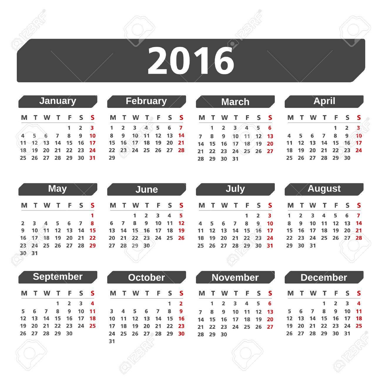 2016 Calendar - 45786400