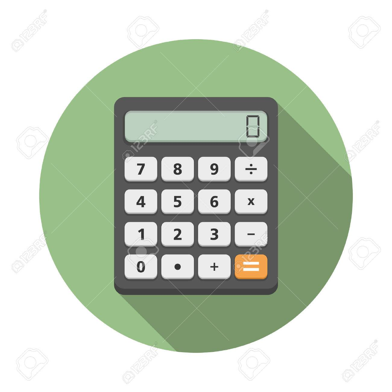 Calculator iccon in circle, flat design with long shadow - 46911169