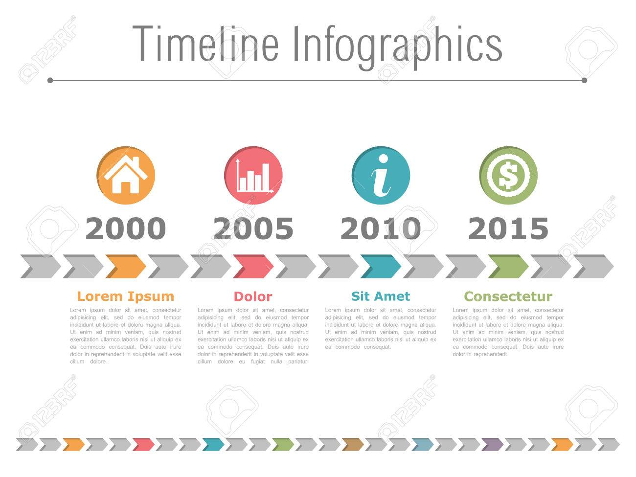Timeline infographics design with colored arrows and icons in circles - 46911177