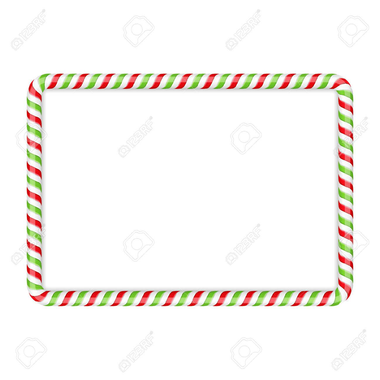 Frame made of candy cane, red and green colors - 47242209