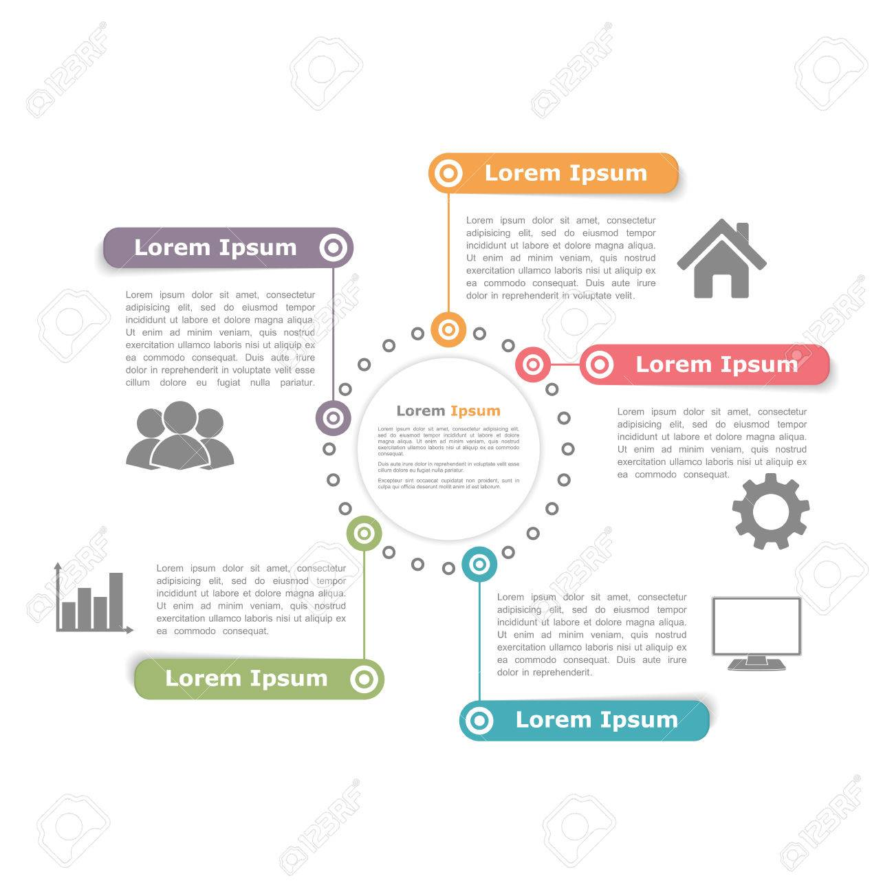 Circle diagram design template with five elements - 46560412