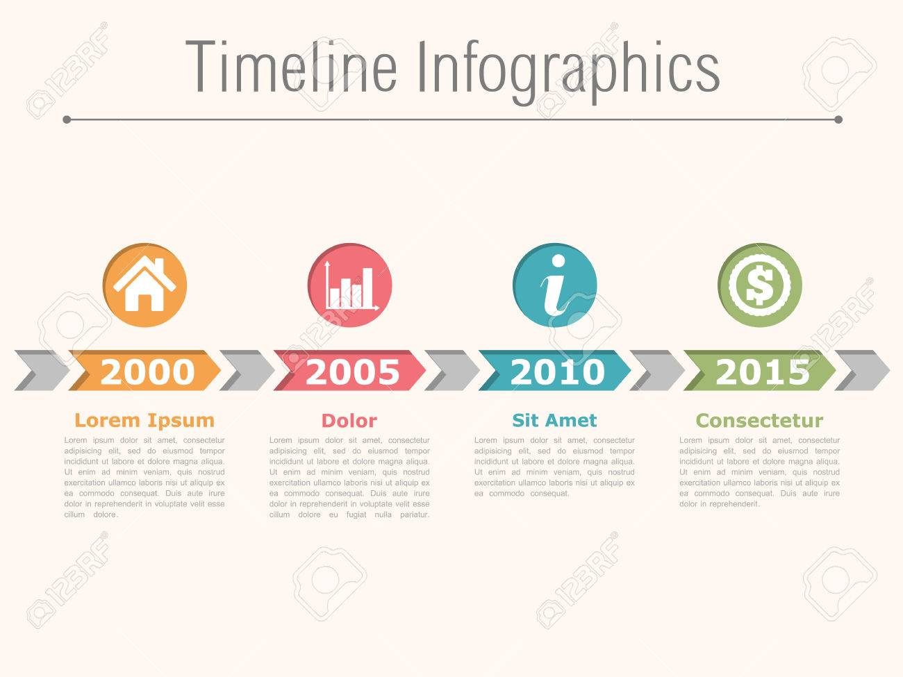 Timeline infographics design with arrows, process diagram - 46337817