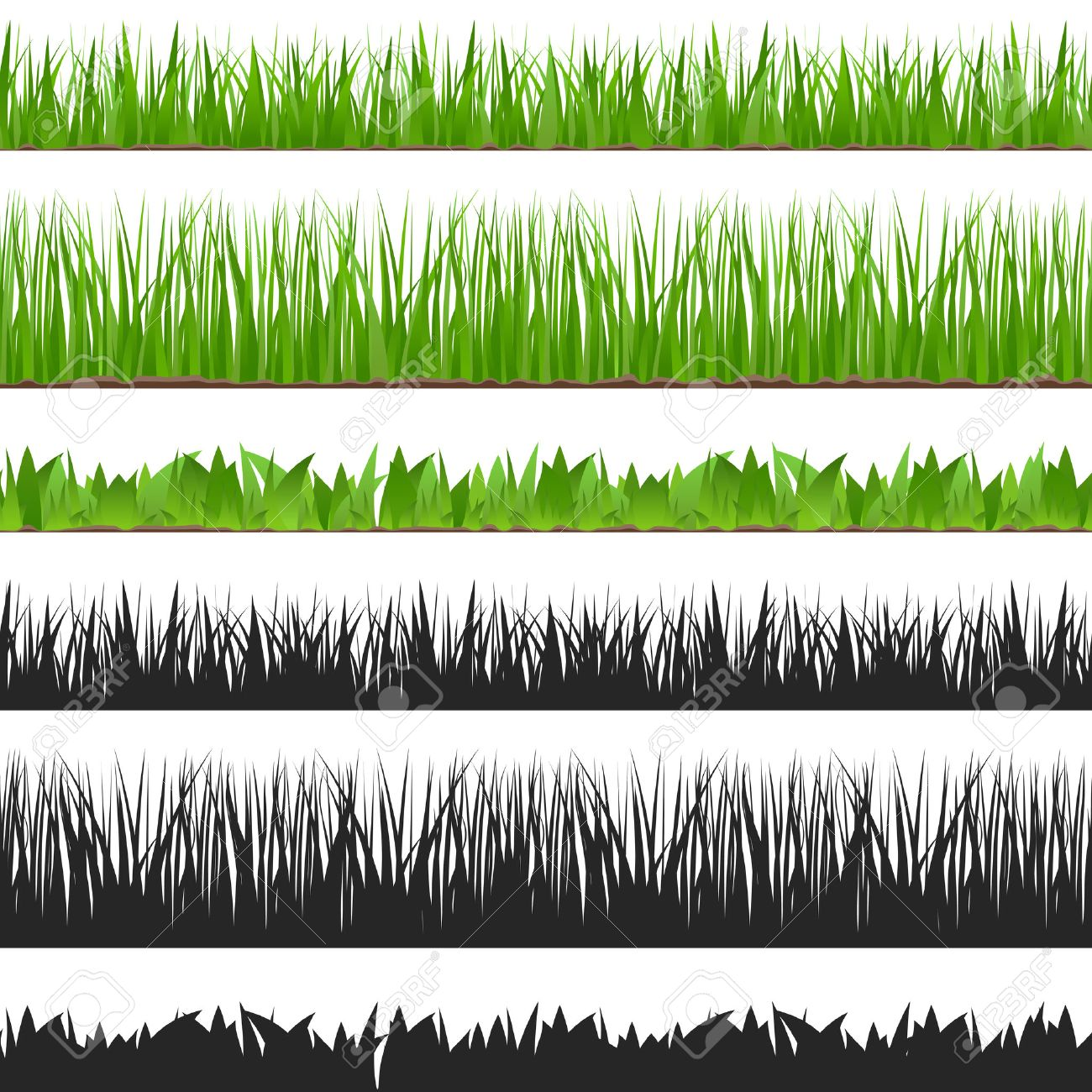 Seamless grass and its silhouette - 47616009