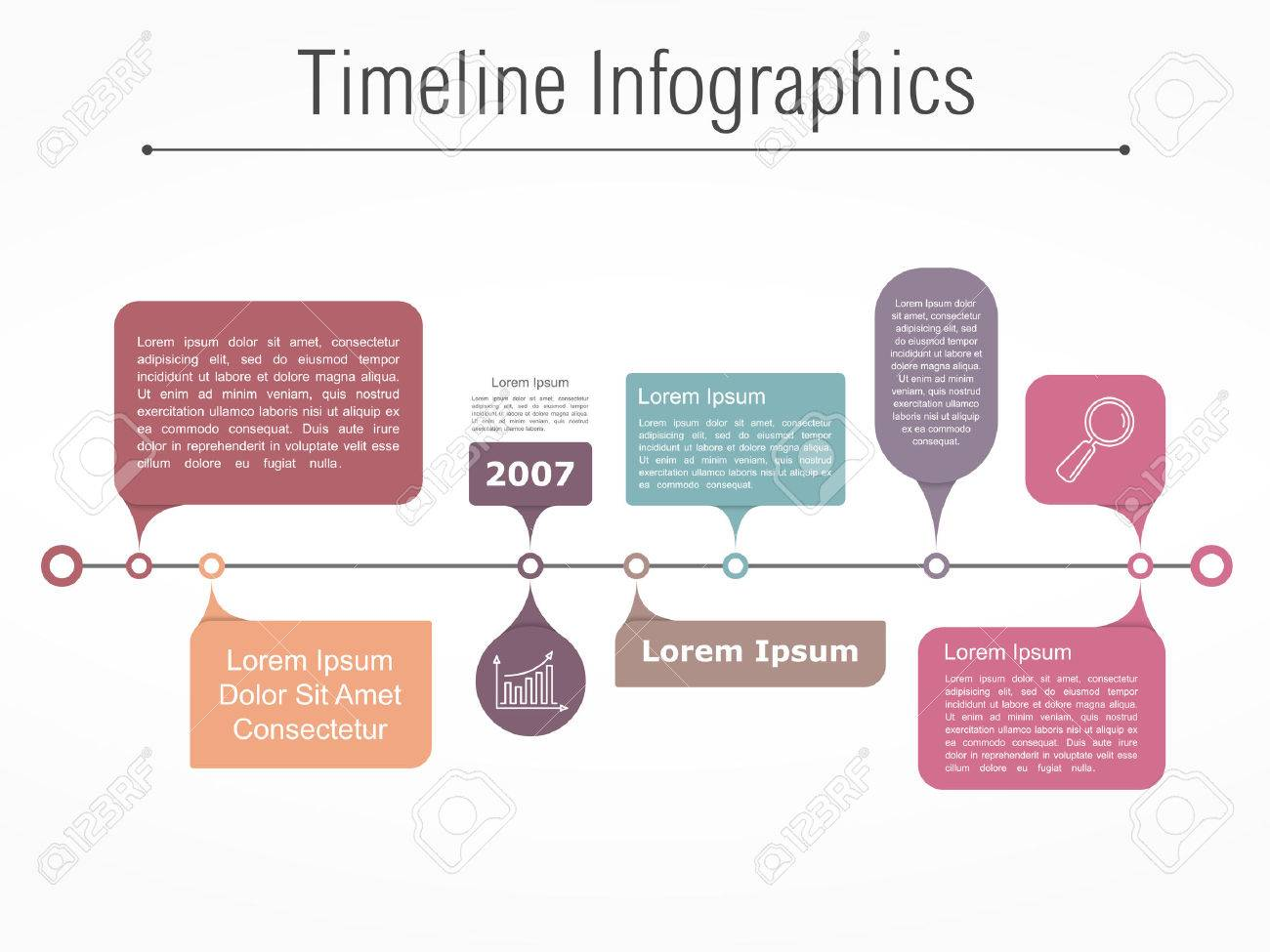 Timeline infographics template with different elements for your information, text and icons - 47703752