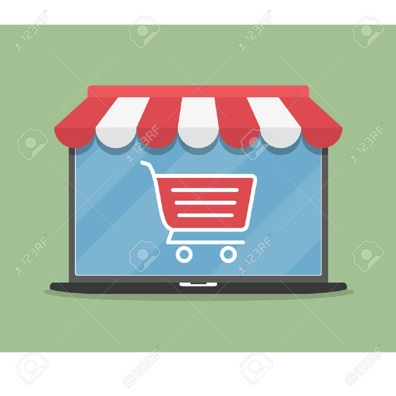 Online store concept illustration, laptop with awning and shopping cart icon, flat design - 48491634