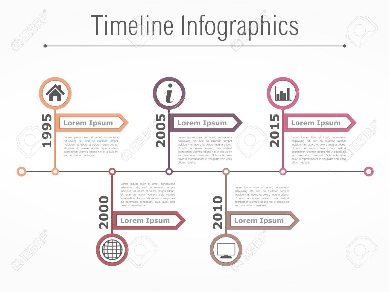 Horizontal Timeline Infographics Design Template With Arrows ...
