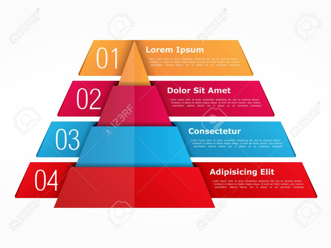 Infographics Template With Pyramid With Four Elements With Numbers ...