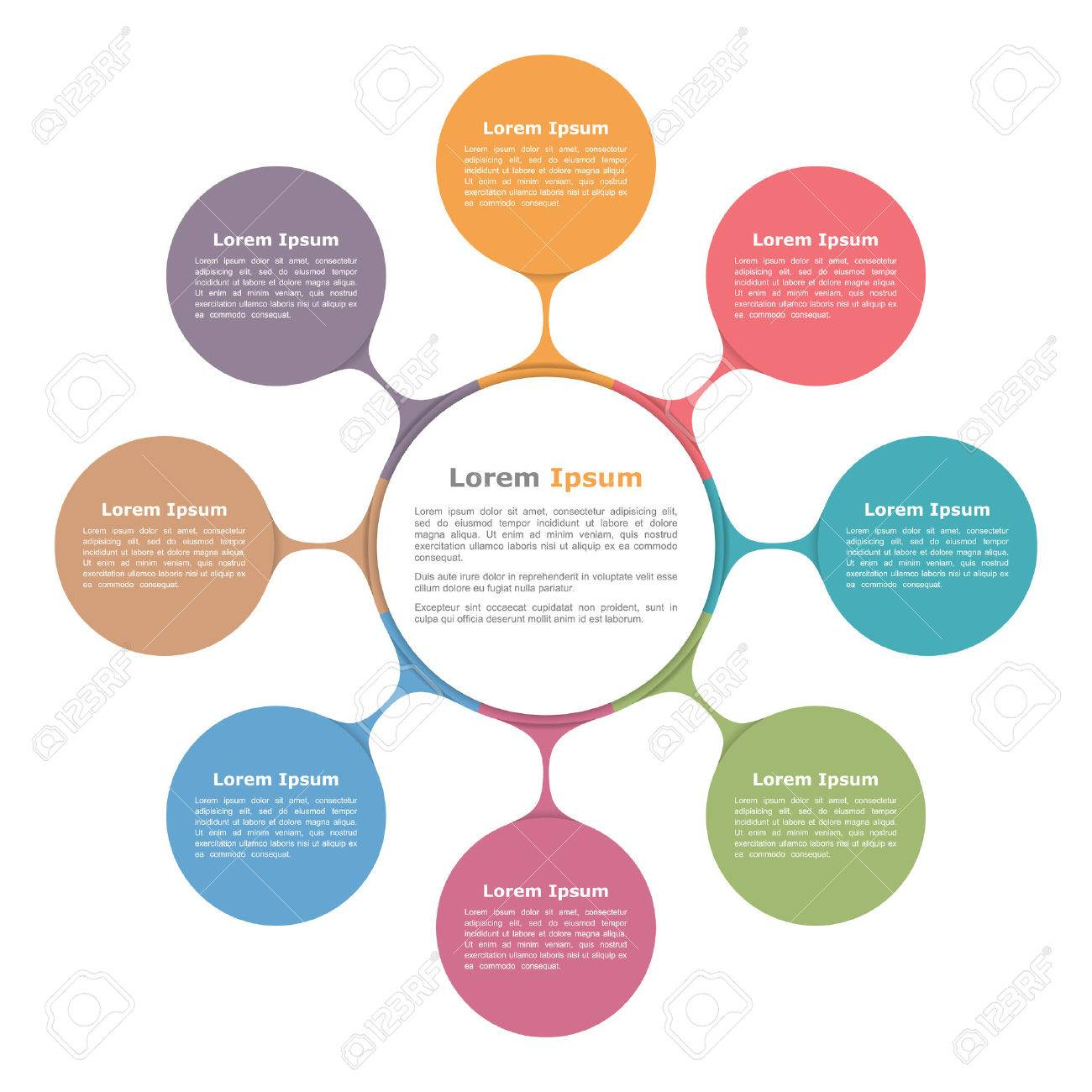 circle diagram with eight elements infographic template royalty
