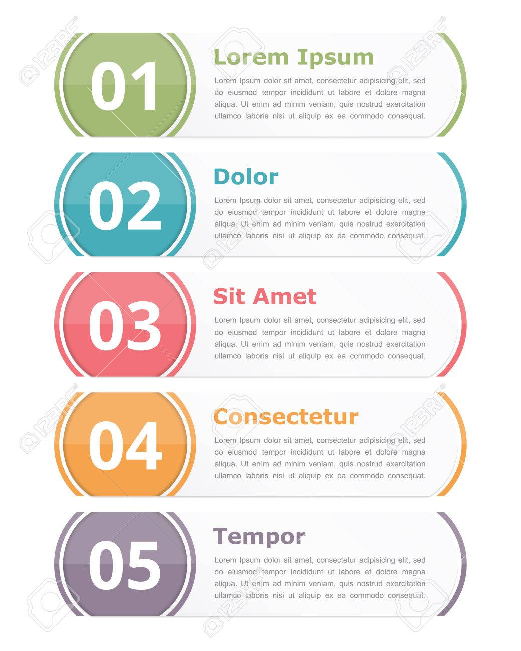 Set of infographics design elements with numbers steps or options and text - 51250680