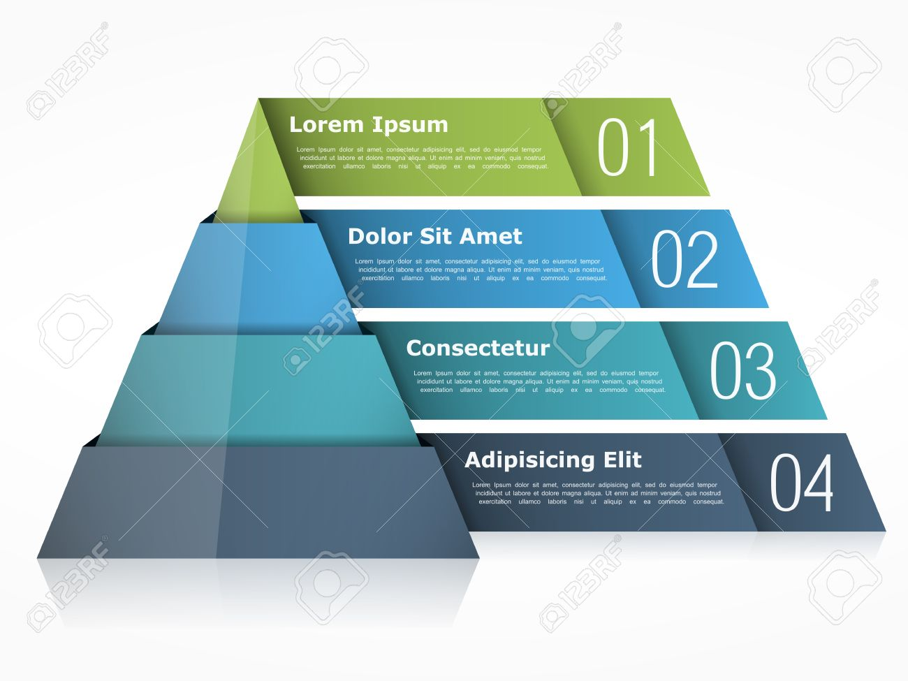 Pyramid chart with four elements - 51250374