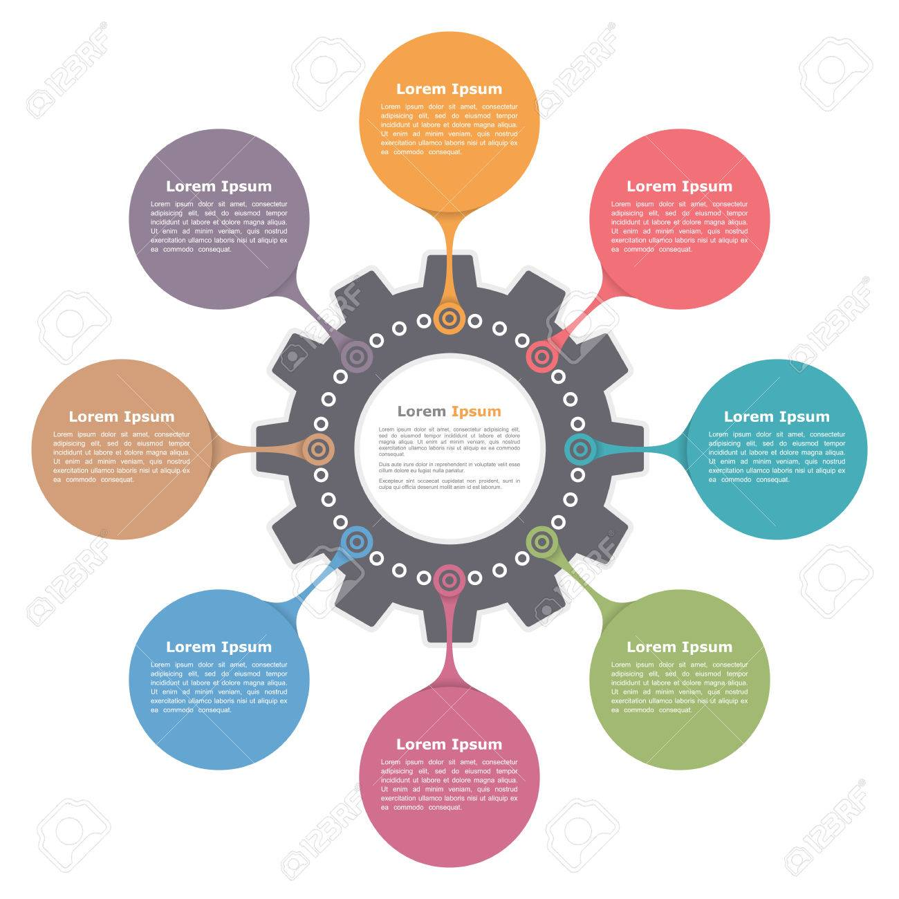 Circle infographics with gear, round diagram template - 55043950