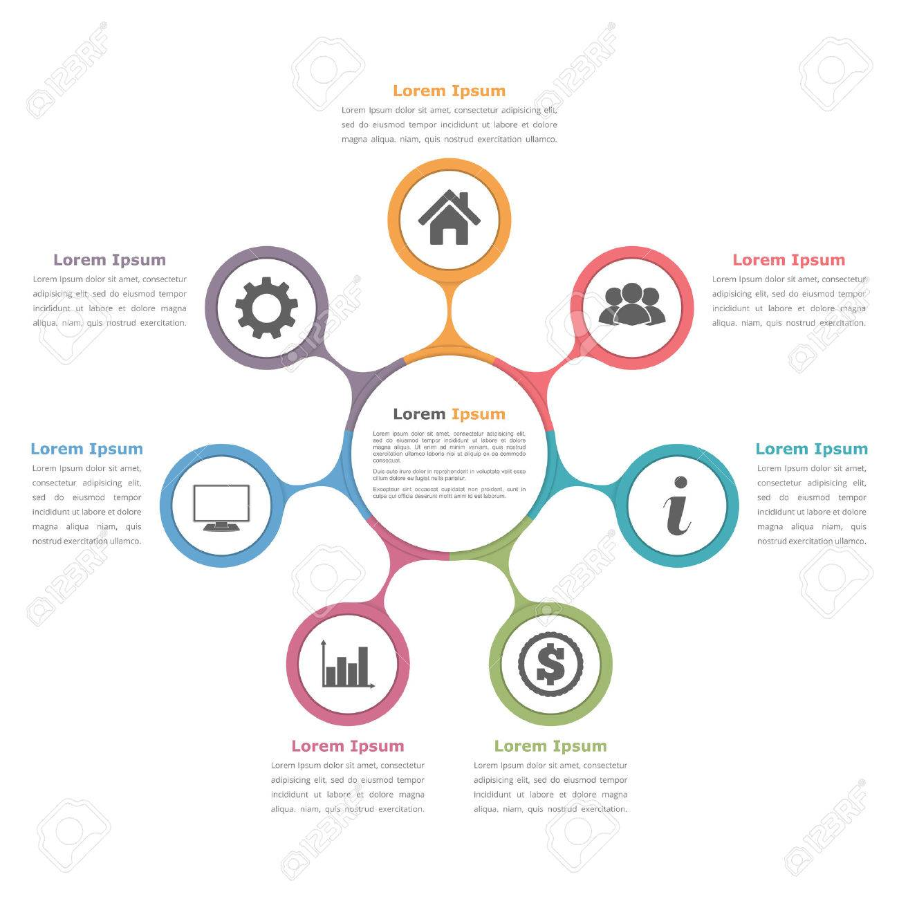 Circle diagram with seven elements with icons and text flow circle diagram with seven elements with icons and text flow chart template business infographics ccuart Image collections