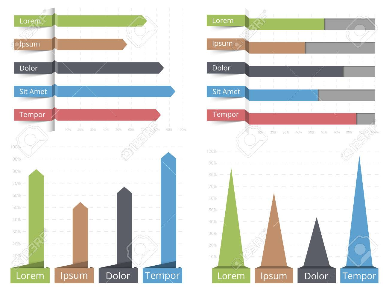 Four Bar Graphs, Horizontal And Vertical Bar Graphs With Text ...