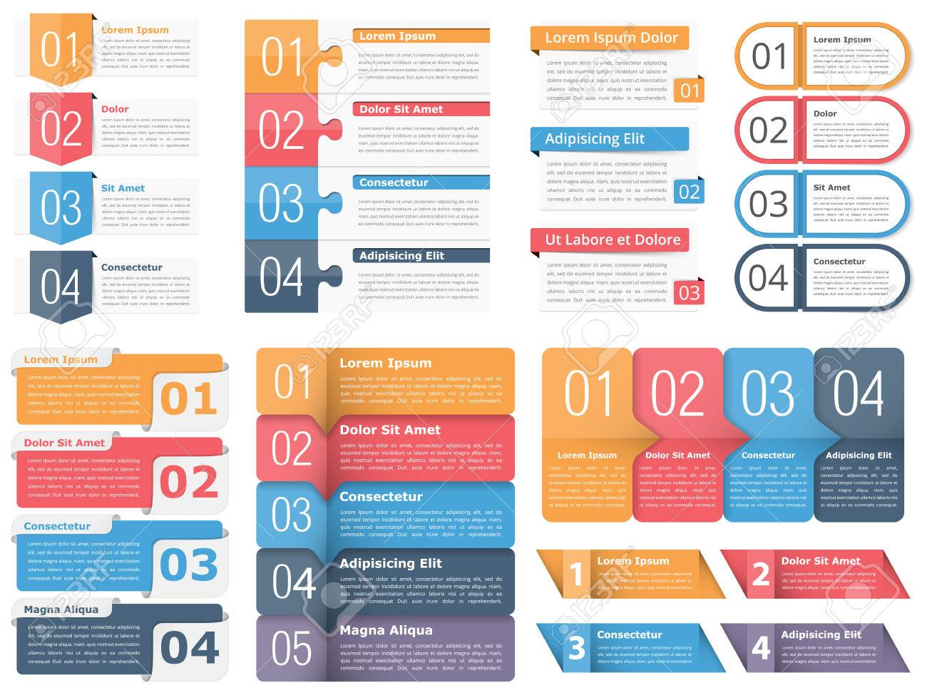 Set of infographic templates with numbers and text business set of infographic templates with numbers and text business infographics elements set workflow wajeb Choice Image