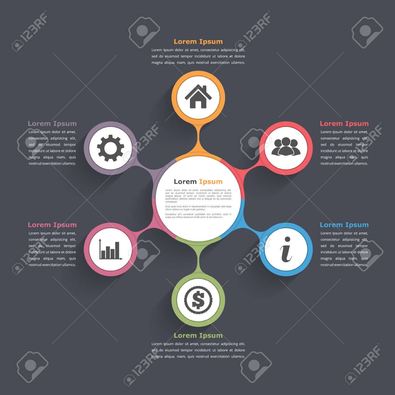Circle diagram infographics with six elements with icons and circle diagram infographics with six elements with icons and text circle flow chart template ccuart Image collections