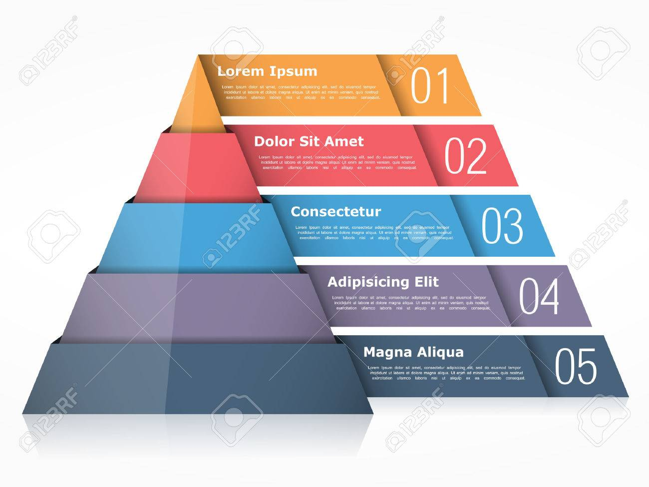 Pyramid chart with four elements, pyramid infographics template - 56771985