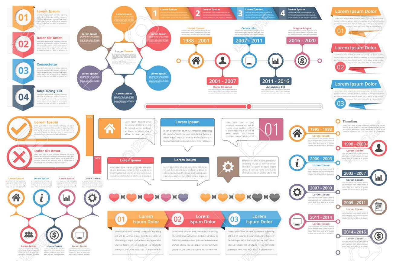 Infographic elements objects with numbers text timeline infographic elements objects with numbers text timeline infographics check and cross symbols ccuart Image collections