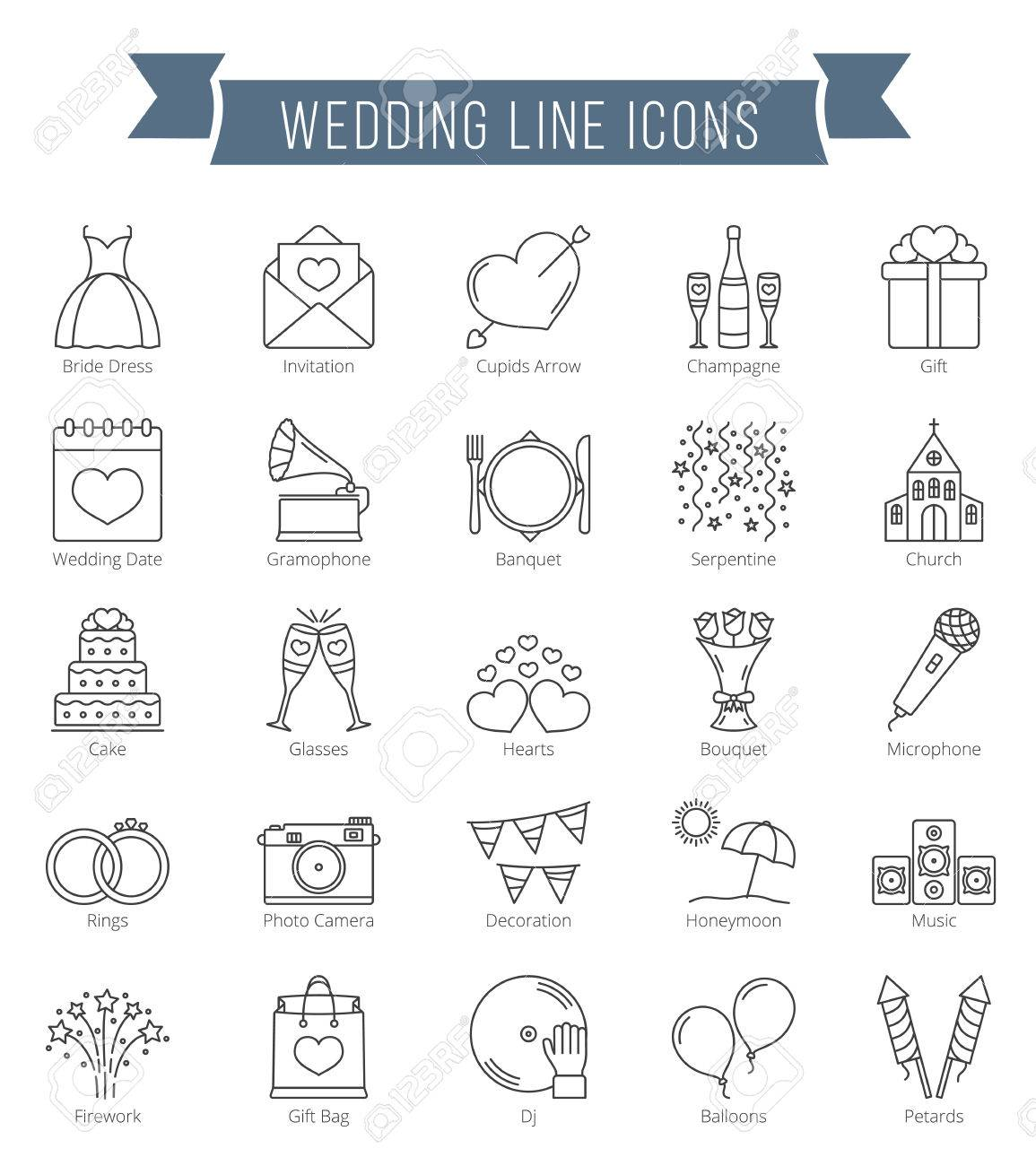 25 Wedding line icons, can be used for Valentine's day - 65044380
