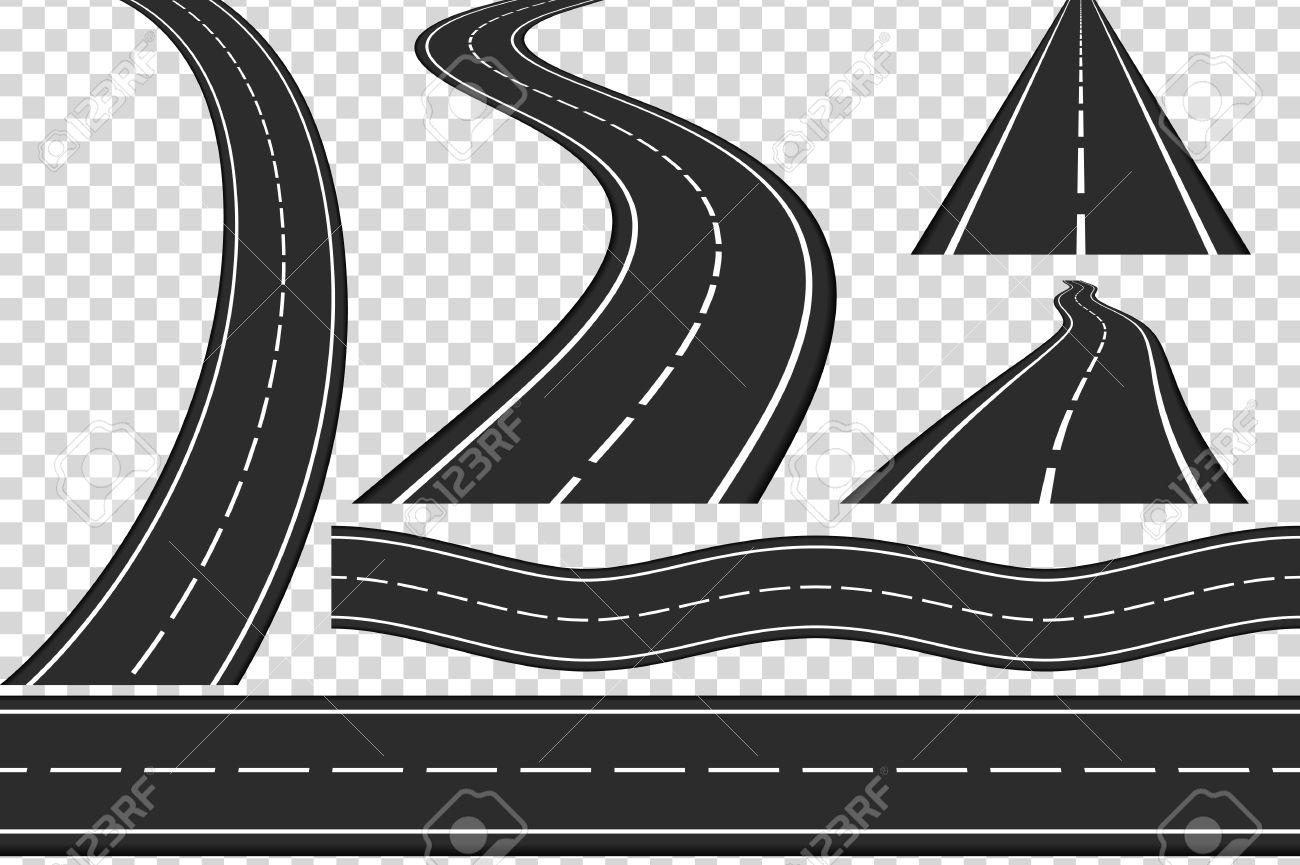 Set of new asphalt roads, vertical and horizontal roads, highway - 65044381