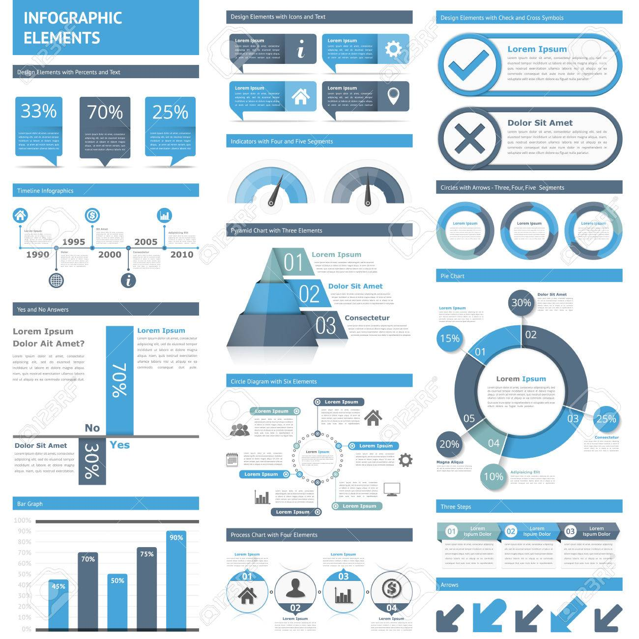 infographic elements timeline bar graphs pyramid chart process