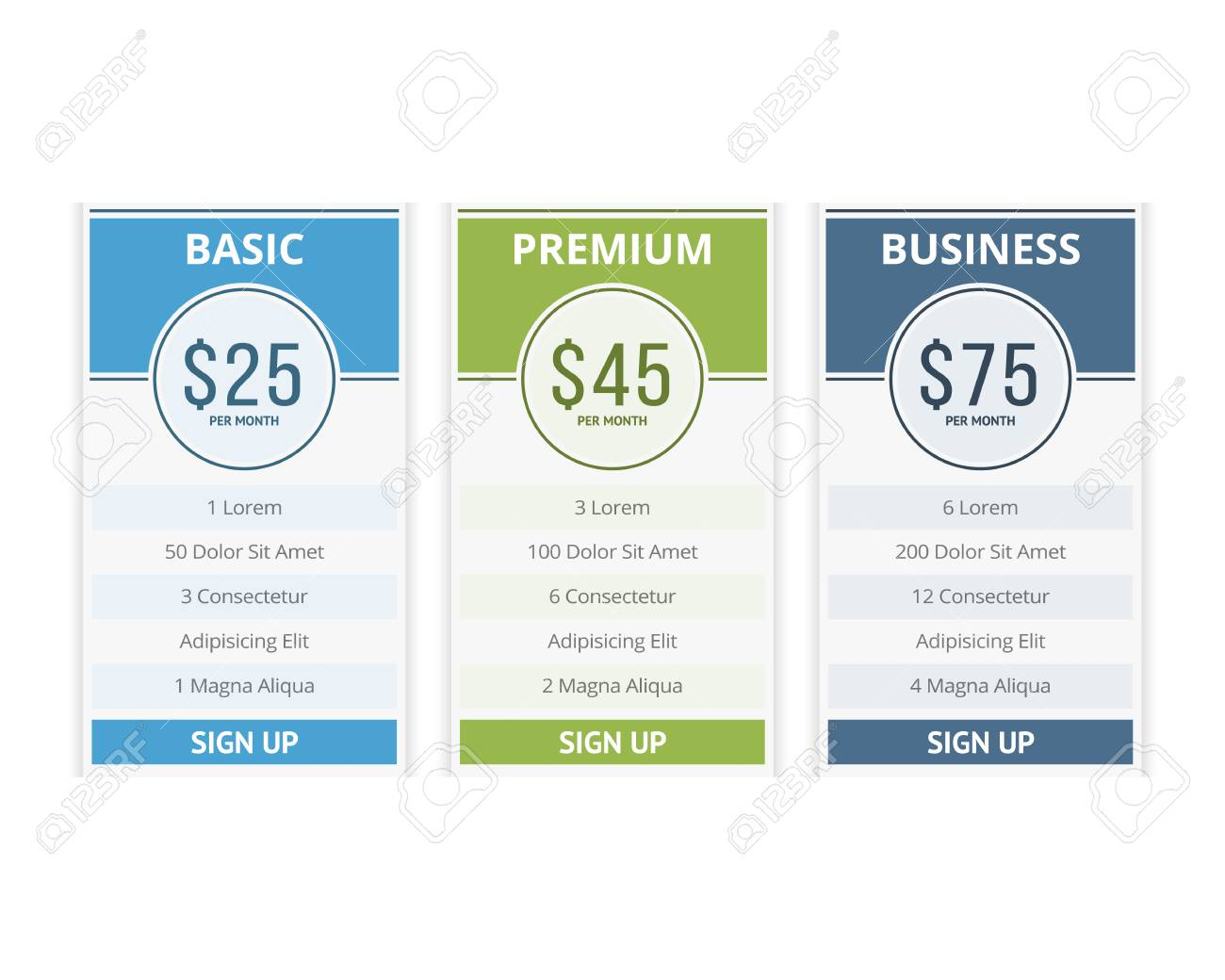 pricing table template with three plans for websites royalty free