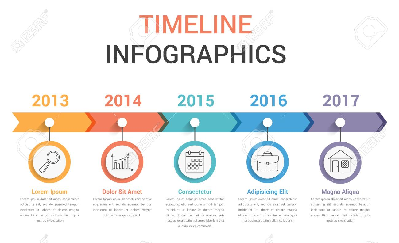 timeline infographics template with colorful arrows workflow