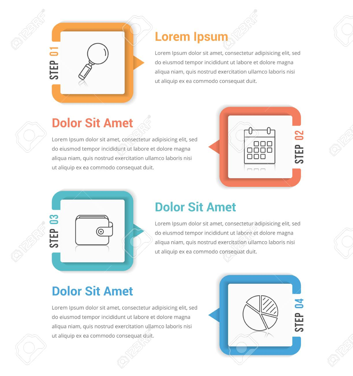 Infographic Template With Four Steps Or Options Workflow Process - Workflow process template