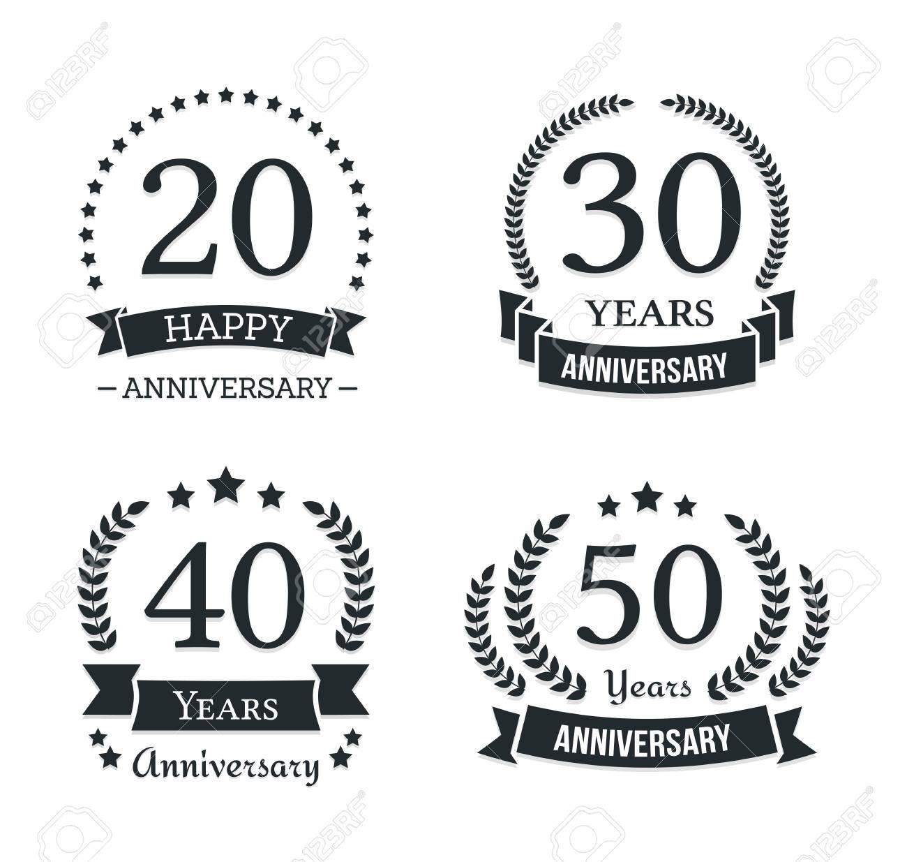 4 different anniversary logo templates anniversary emblems
