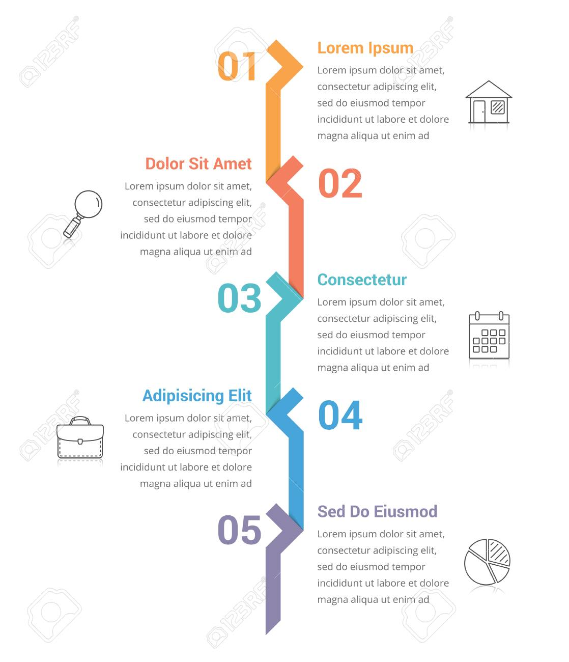 Infographic Template With Five Steps Or Options Workflow Process - Workflow process template